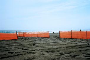 鵠沼海岸ビーチバレー場のオレンジ色のネットの写真素材 [FYI03176765]