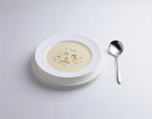 1皿のスープとスプーンの写真素材 [FYI03176980]