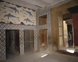 遺跡内部と壁画 クノッソス宮殿 クレタ島 ギリシャの写真素材 [FYI03177107]