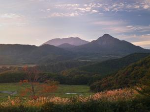 大山と烏ヶ山の夕暮れの写真素材 [FYI03178358]