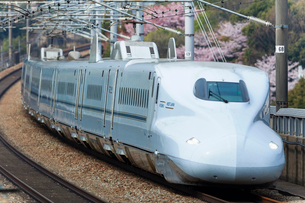 九州山陽新幹線と桜の写真素材 [FYI03178504]