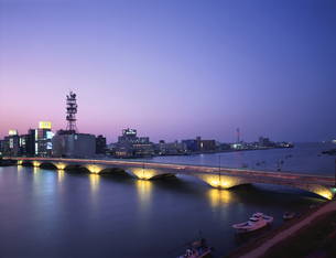 万代橋夜景  新潟県の写真素材 [FYI03180075]
