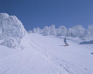 雪の積もった蔵王スキー場で滑っている人 山形市 山形県の写真素材 [FYI03180228]