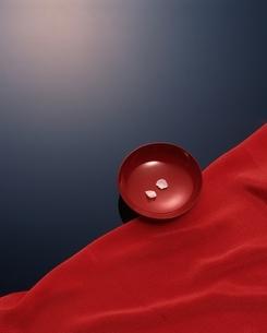 お椀にのせた2枚の花びらと赤い布(赤 黒)の写真素材 [FYI03180305]
