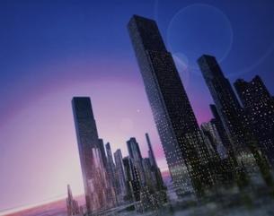 ビル群の朝の風景 CGの写真素材 [FYI03180420]