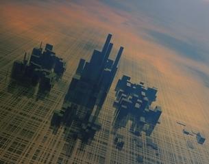 霧のかかったビル群 CGの写真素材 [FYI03180423]