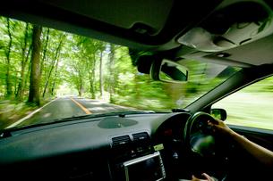 走っている車中から見た新緑の風景の写真素材 [FYI03180577]