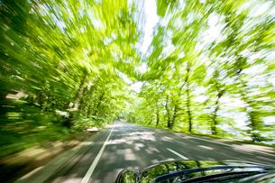 走っている車中から見た新緑の風景の写真素材 [FYI03180583]
