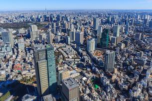 渋谷区上空よりザ.リッツ.カールトン東京とスカイツリーの写真素材 [FYI03180907]