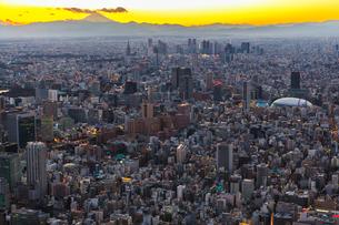 東京ドームと新宿ビル群と富士山の夕景の俯瞰の写真素材 [FYI03180959]