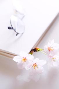 桜の花を栞にした本と眼鏡の写真素材 [FYI03182283]