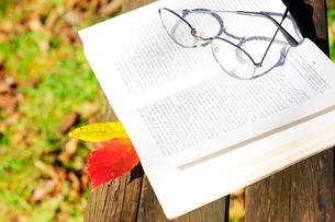 ベンチのうえのフランス語の詩集と落ち葉の栞と眼鏡の写真素材 [FYI03182383]