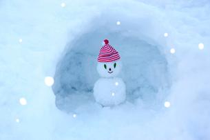 雪のかまくらの中の雪だるまの写真素材 [FYI03182440]