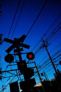 踏切の信号機と街並と青空の写真素材 [FYI03182481]