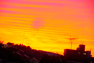 夕焼け空と街の写真素材 [FYI03182503]