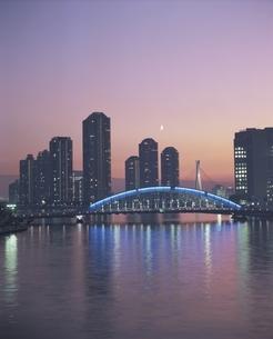 佃島のビル群とレインボーブリッジの夜景 中央区 東京都の写真素材 [FYI03182822]