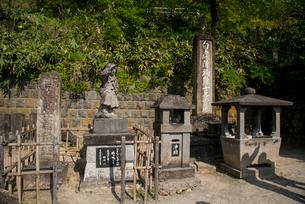 白虎隊士自刀の跡地と会津城を見る白虎隊像の写真素材 [FYI03183015]