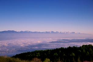 高ボッチ高原より北アルプス連峰と松本の街並みを包む雲海の写真素材 [FYI03184698]