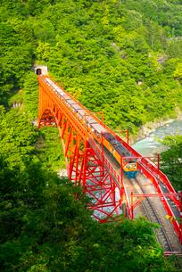 新山彦橋を渡る黒部渓谷トロッコ電車の写真素材 [FYI03184722]