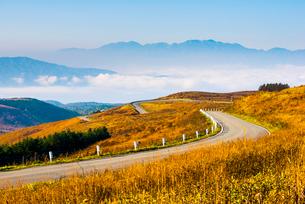 紅葉の霧ヶ峰高原ビーナスラインと日本アルプスの山並みの写真素材 [FYI03184868]
