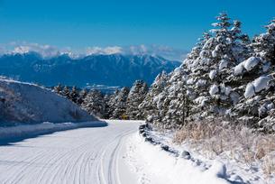 雪道の霧ヶ峰ビーナスラインと南アルプスの写真素材 [FYI03185142]