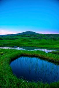 朝の月山弥陀ヶ原湿原より池塘と月山の写真素材 [FYI03185660]