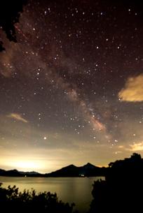 檜原湖湖畔より磐梯山と天の川の写真素材 [FYI03185745]