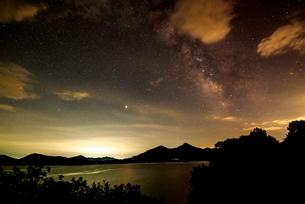 夏の星空に檜原湖と磐梯山の写真素材 [FYI03185755]