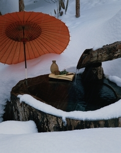 御宿こまゆみの里の丸太風呂   栃木県の写真素材 [FYI03185810]
