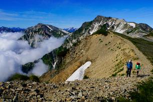 白馬岳から眺める杓子岳と鑓ヶ岳の写真素材 [FYI03186023]