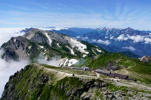 白馬岳から眺める杓子岳と鑓ヶ岳と剣岳の写真素材 [FYI03186032]