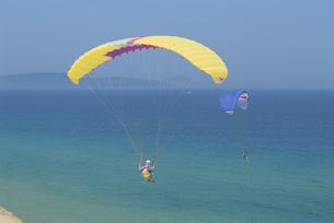 海の上空で飛行する2機のパラグライダー 海ノ中道 福岡県の写真素材 [FYI03188940]