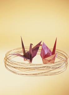 向かい合っている2羽の折鶴の写真素材 [FYI03189015]