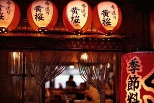 居酒屋のチョウチンと縄ノレン   先斗町 京都の写真素材 [FYI03190153]