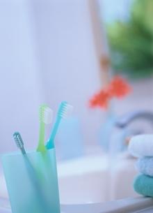 歯ブラシのある洗面台の写真素材 [FYI03190249]