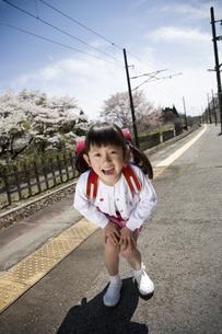 ランドセルを背負った女の子と桜の写真素材 [FYI03190679]