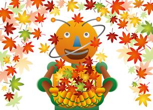 秋の紅葉と遊ぶロボットのイラスト素材 [FYI03190809]