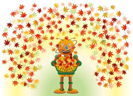 秋の紅葉と遊ぶロボットのイラスト素材 [FYI03191808]