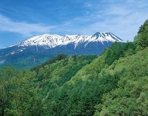 新緑の山と木曽御岳山   長野県の写真素材 [FYI03192223]