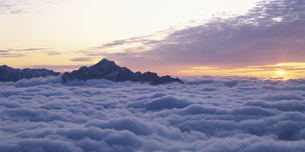 雲海に沈む剣岳と夕日 唐松岳 富山県の写真素材 [FYI03192357]