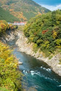 秋の飛水峡と飛騨川の写真素材 [FYI03192601]