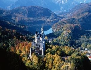 秋のノイシュバンシユタイン城        ババリア ドイツの写真素材 [FYI03193887]