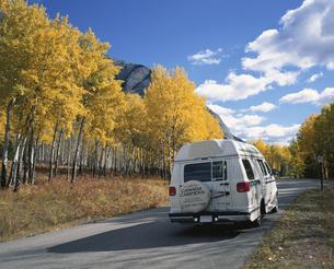 黄葉とキャンピングカー バンフNP カナダの写真素材 [FYI03194054]