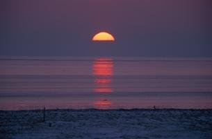 海から登る太陽  別海町 北海道の写真素材 [FYI03194902]