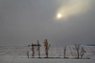雲間の夕日の写真素材 [FYI03195542]