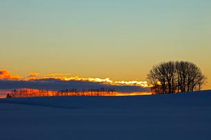 日の出前の雪原 帯広の写真素材 [FYI03195861]