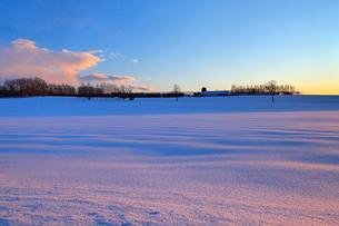 日の出前の雪原 帯広の写真素材 [FYI03195910]