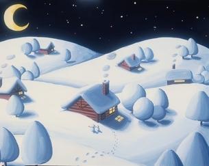 雪国の夜 冬 イラストのイラスト素材 [FYI03197190]