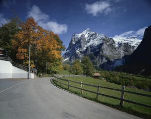 山道のカーブと柵 ヴェッターホルン グリンデルワルト スイスの写真素材 [FYI03198318]