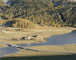 紅葉の木々と川にかかる橋  エンガディン スイスの写真素材 [FYI03198321]